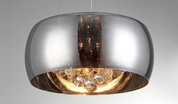 Lustre Pendente Sala Cristal K9 Cromado Attractive 50 Cm
