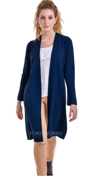 Cárdigan Tapado Largo Saco Sin Botones Sweater Azul Kierouno