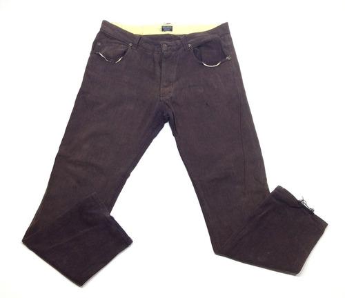 Pantalon Dc Casual Gabardina Marron Con Detalles Talle 36