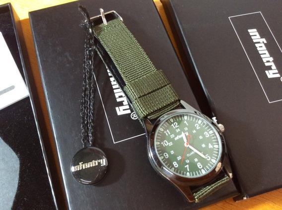 Relógio Militar Infantry 12-24 Verde Analógico Quartzo Usado