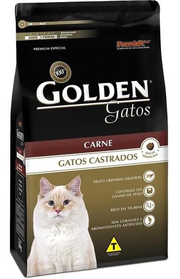 Ração Golden Gatos Adulto Castrado Carne 3 Kg