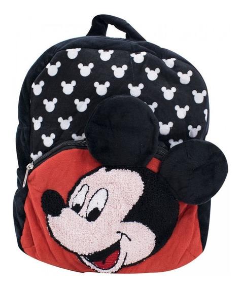 Mochila Infantil Pelúcia Preto Mickey Mouse Disney