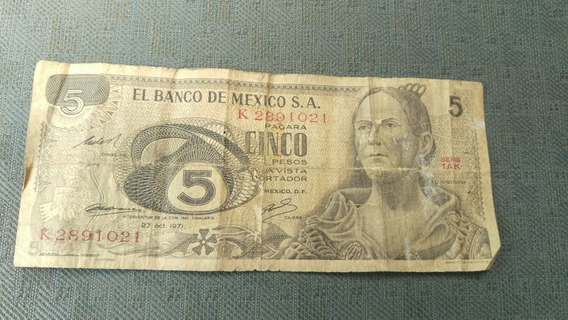 Billete Para Colección De 5 Pesos Mexicanos Del Año 1971