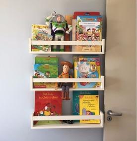 3 Prateleiras Decorativas Porta Livros Infantil 60x10cm