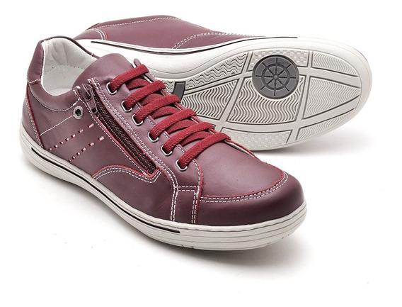 Sapato Sapatênis Casual Couro C/ziper Ranster 2010 Gêlo