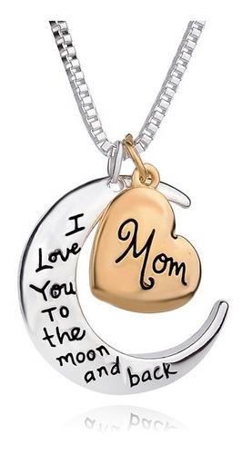 Collar Mama Cumpleaños Y Dia Madre Luna Creciente Y Corazón