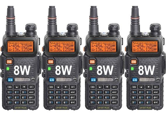 Kit X 4 Handy Baofeng Uv5r 8w Bibanda Radio Walkie Talkie Vhf Uhf + Auricular Manos Libres