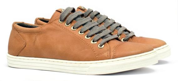 Zapatilla Cuero Hombre Con Cordones Zapato Base Cosida