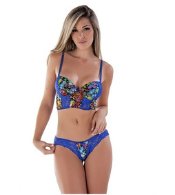 Conjunto De Lingerie Cropped Estampado Digital B218