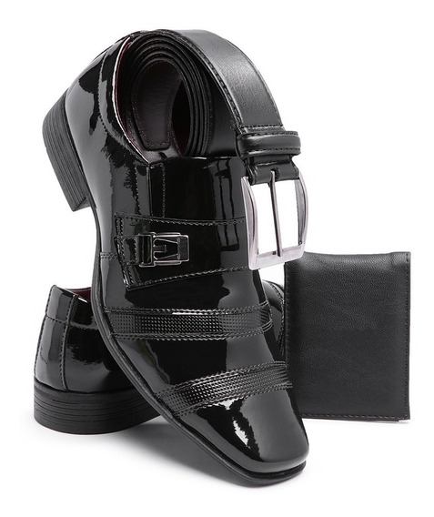Sapato Masculino Social Kit Cinto+carteira Verniz Brilho 803