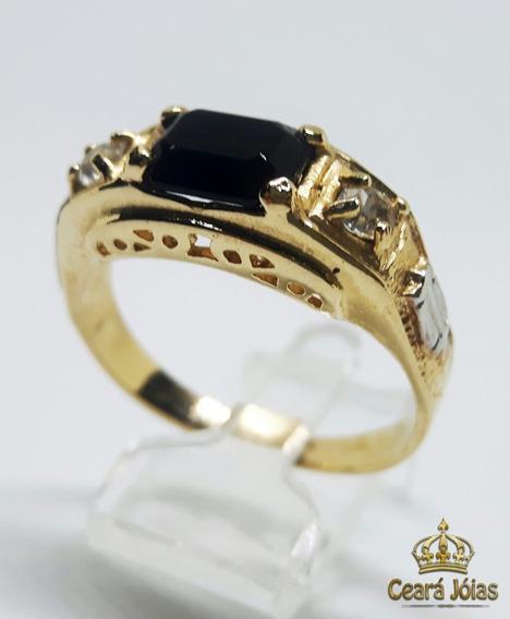 Anel Masculino Folheado A Ouro 18k Pedra Preta Onix