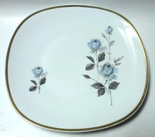Platón Porcelana Bavaria Blanca Decorado Rosas Azules