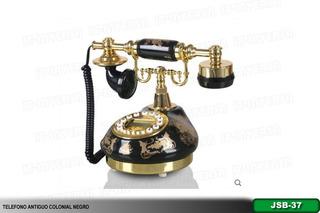 Teléfono Modelo Antiguo Colonial Con Pantalla Digital Negro