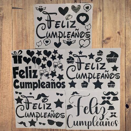 Calcomanias Stikers Globos Burbuja Feliz Cumpleaños