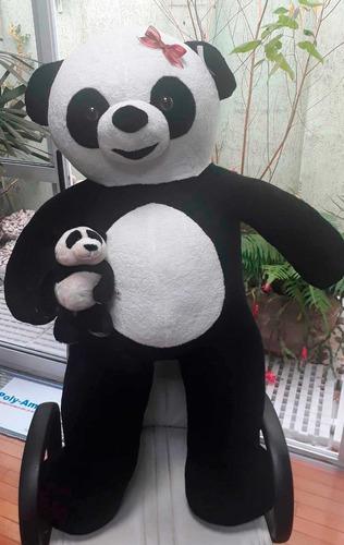Imagem 1 de 9 de Urso De Pelucia Gigante Panda 120cm 1,20 Mts + Ursinho 25cm