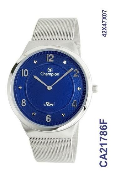 Relogio Champion Prateado Aço Original Visor Azul