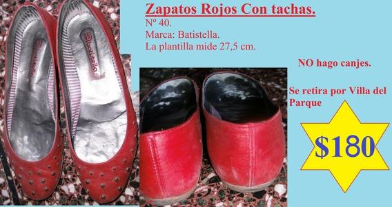 Zapatos Rojos Con Tachas. Nº 40. Marca Batistella.