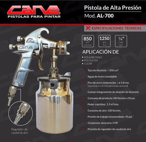 Pistola De Pintar A.presion Taza Aluminio Cane Al700 Profes