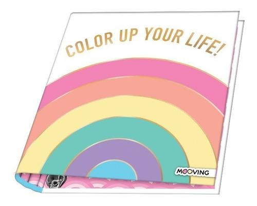 Carpeta Escolar Nro 3 Golden Rainbow 3 Anillos Mooving 1211