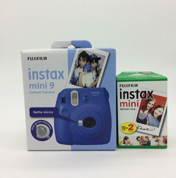 Câmera Fujifilm Instax Mini 9 Azul Cobalto + Film 20 Fotos