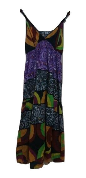Vestido Mujer Bambula Largo Estampado Breteles Ajustables
