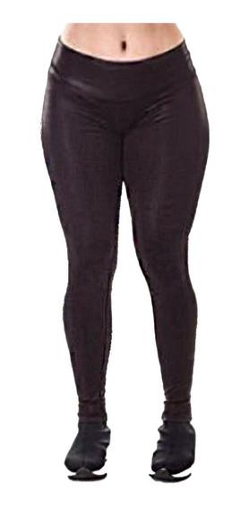 Calça Legging Couro Fake Cirrê Lycra Disco Pants Tradicional E Plus Size