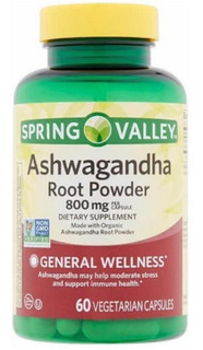 Ashwagandha 800 Mg 60 Cáps Veganas Spring Valley Importado