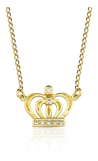 Colar Semijoia Coroa Banho Duplo Ouro 18k E Zircônia