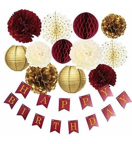 Imagen 1 de 7 de Oro Burdeos Decoracion Para Fiesta De Cumpleaños Diseño D