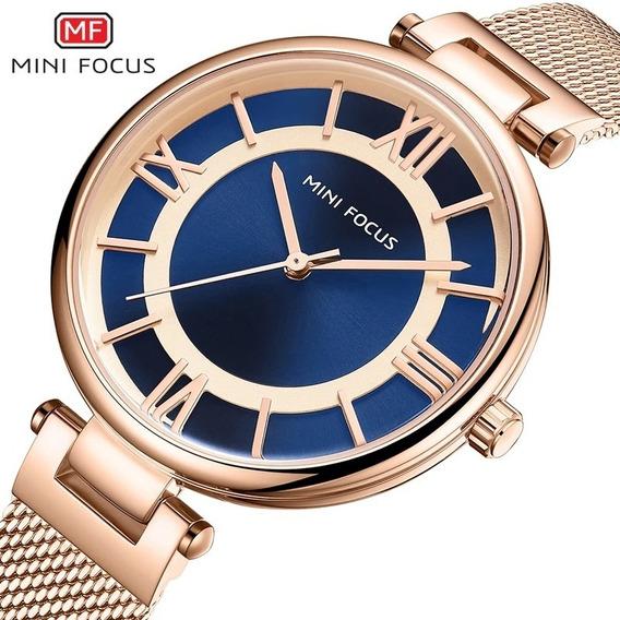 Relógio Feminino Minifocus 0234l Original Rose Dourado Preto
