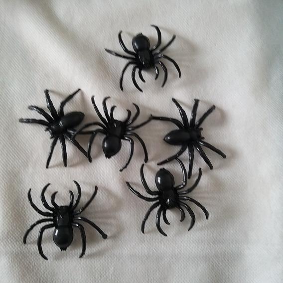 Bolsa Con 6 Arañas De 7 Cm Aprox. Decoración Halloween