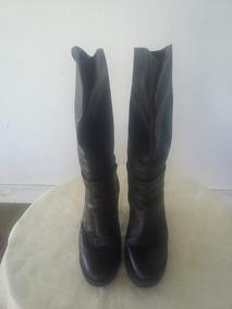 Botas Negras,de Cuero, Caña Media Alta, Num: 37, Mujer.