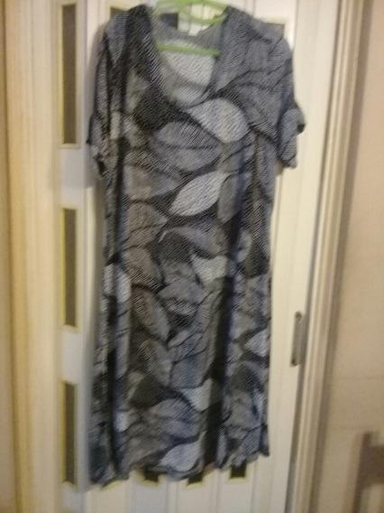 Vestido Seda Fria Grande Xxl T 5 Congreso Hojas Y Lunares