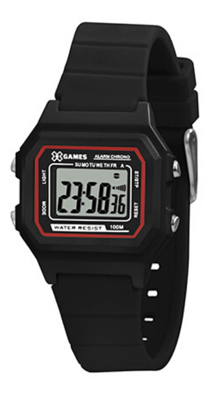 Relógio Infantil Preto X-games Digital Quadrado Pequeno +nf