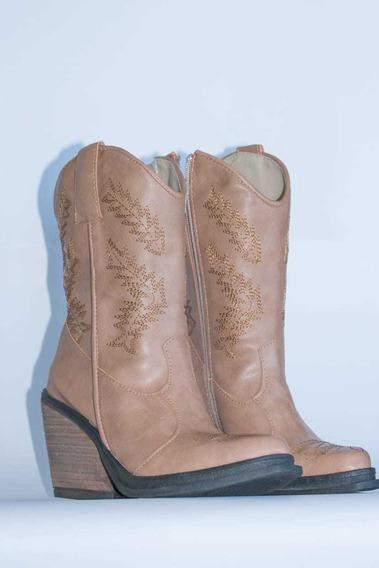 Bota Texana Mujer Caña Media C/ Cierre 100ca Roca