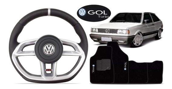 Volante Sport Gti Gol G1 Quadrado Turbo Tapete C/ Bordado Vw