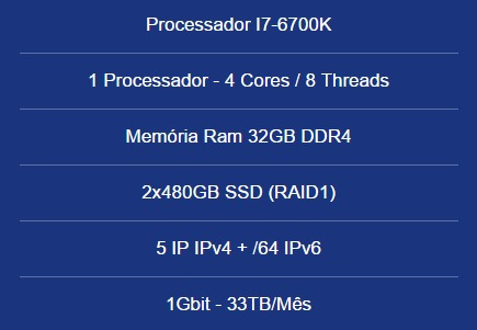 Servidor Dedicado I7-6700k-32gb Ram-2x480gb Ssd- 5 Ip