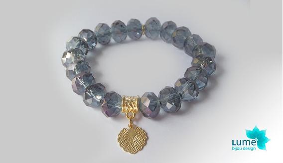 Pulseira Semijoia Cristal Azul