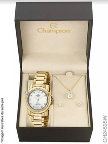 Relógio Champion Feminino Dourado Kit Brinco Corentinha