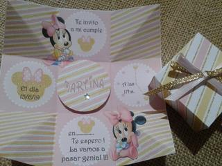 Tarjetas Invitaciones De Minnie Bebe Doradas En Mercado
