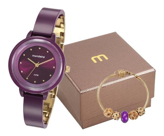 Relógio Mondaine Feminino Com Pulseira Berloque Roxo