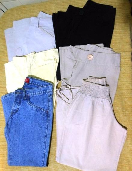 Lote De 6 Pantalones Capri Dama En Talle 38 Colore Varios