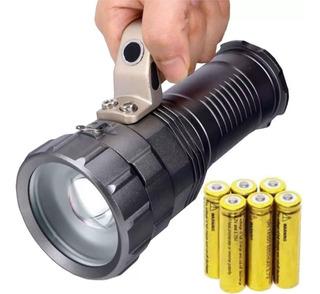 Lanterna Holofote De Mão Led T6 Alta Luminosidade 6 Baterias