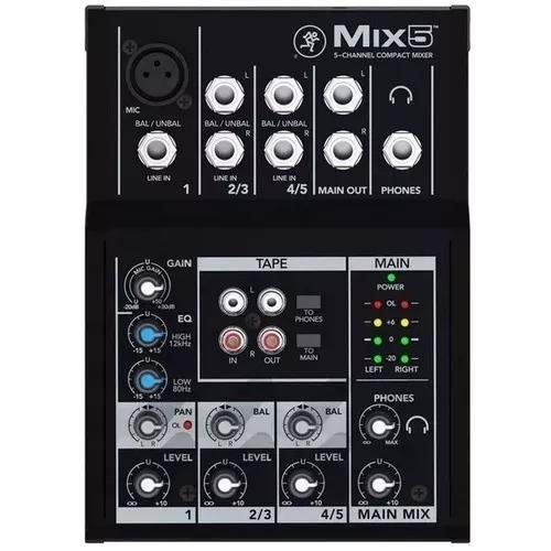 Mesa De Som Mackie Compacta 5 Canais Mix5 Novo + Nf