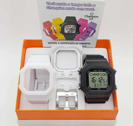 Relógio Champion Yot Preto Branco Cp40180x12 Barato