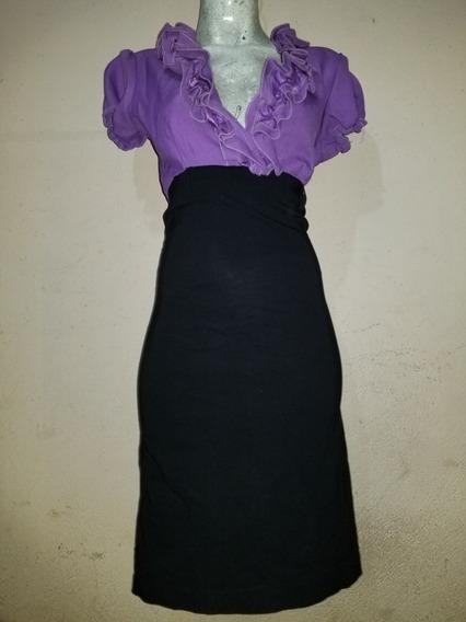 Hermoso Vestido De Vestir Negro Con Lila