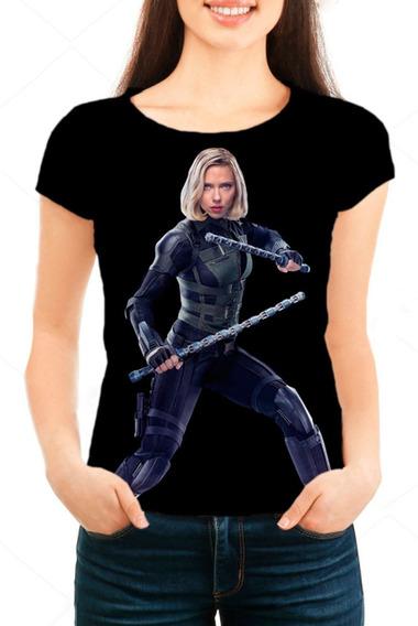 Camiseta Babylook Feminina Guerra Infinita Viúva Negra