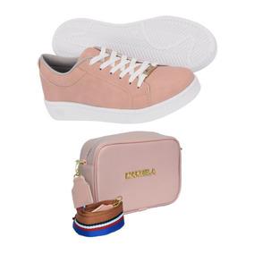 e316e4b5d22 Kit Sapatenis Tenis Feminino Branco + Bolsa Pequena Fretegra