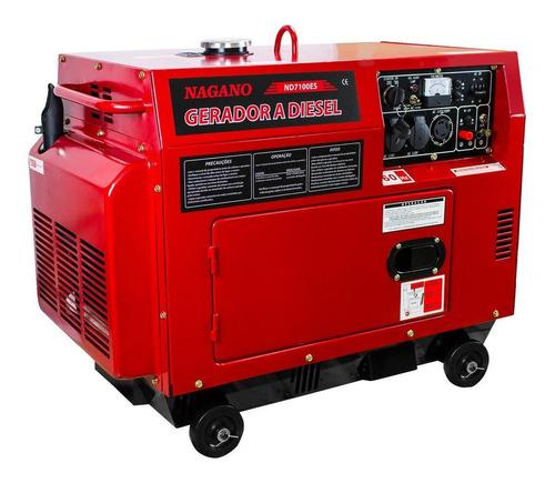 Gerador portátil Nagano ND7100ES 6000W monofásico com tecnologia AVR 110V/220V