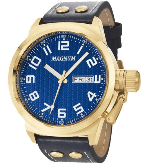 Relógio Masculino Magnum Ma32765a Fundo Azul